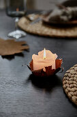 Autumn leaf as a candle holder