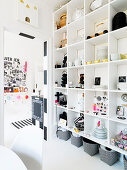 organized shelves with dishes and kitchen accessories