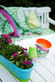 A flower box, cups and colourful bowls on a garden table