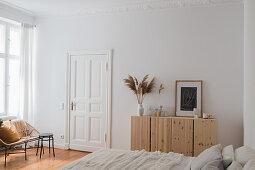 Minimalist bedroom in natural shades