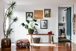 Wooden bench, houseplants and pictures in foyer