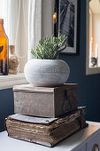 Original arrangement of antique book, metal tin and planter stacked on top of chest of drawers