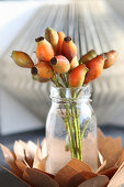 Posy of orange rose hips in glass vase on paper flower