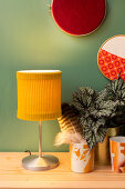 DIY lampshade made from yellow corduroy