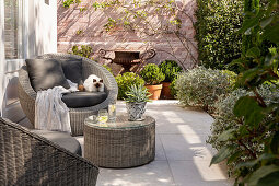 Round wicker furniture on terrace in courtyard garden
