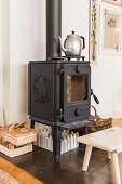 Cast iron wood-burning stove with squirrel motif and rustic accessories