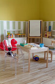 Wooden chair and Ghost chair at drawing table in play area of children's bedroom