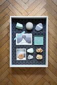 Maritime souvenirs in fabric-lined display case