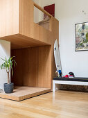 Fitted wooden modules in loft apartment