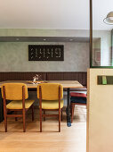 Digital wall clock in retro dining area