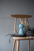 Kitchen utensils on wooden chair