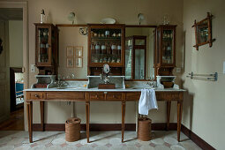 Antique, wood and marble twin washstand with cabinets on top