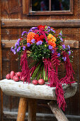 Autumn bouquet of dahlias, Michaelmas daisies and amaranth