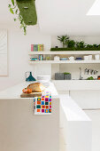 Counter below arrangement of artificial grass in white kitchen