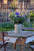 Late summer garden bouquet on a table in the garden
