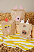 Brown gift bags with animal motifs