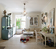 Blue dresser in shabby-chic living room