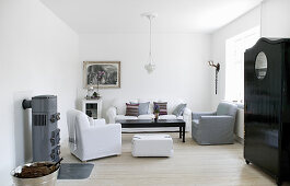 Classic living room in white, grey and black