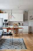 Multifunctional interior with kitchen area in period building