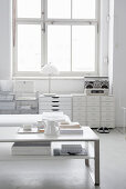 Coffee table and filing cabinets in living room decorated entirely in white