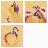 Instructions for making decorative ring from knitted tubes made using knitting dolly