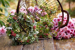 Wreath of wild pistachio and silver leaves
