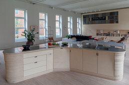 Designer kitchen counter in loft apartment