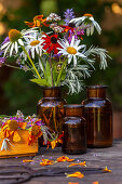 Late-summer bouquet of ox-eye daisies, echinacea, helenium, purple loosestrife, oregano, wormwood and verbena