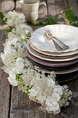 Garland of Queen Anne's lace and phlox decorating table