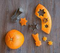 Decorations cut out of orange peel