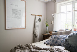 A rural bedroom with a double bed