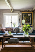 A rustic living room with a sofa