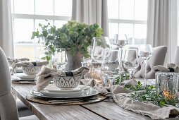Laid table with wine glasses