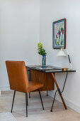 Leather chair at masculine retro desk