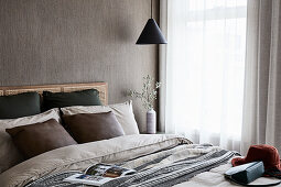 Bedroom in natural shades in Scandinavian, Bohemian style