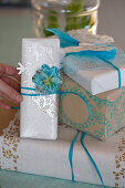 Christmas packaging with stamp motif in blue and white