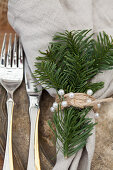 Linen napkin with Christmas decoration