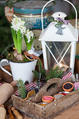 Wooden box with scattered decoration, behind it a lantern and hyacinths