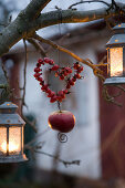 Heart-shaped wreath of rose hips with apple hanging from branch in garden