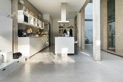 Offene Küche mit Kücheninsel und Betonboden