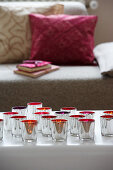 Silver tealight holders on coffee table