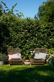 Rattan easy chairs with cushions in garden