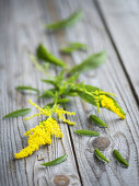 Goldenrod on a wooden surface