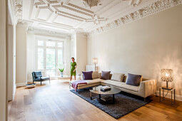 Living room in an old building flat, Hamburg, Germany