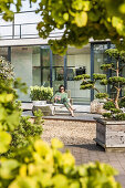 woman sitting on a terrace with an iPad,modern architecture n in Hamburg,north Germany,Germany