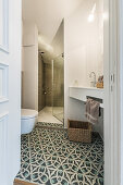 bathroom in a modern furnished Art Nouveau apartment in Hamburg, north Germany, Europe