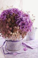Flower arrangement with hydrangeas