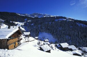 A snowy mountain village (Village de Boudin in France)