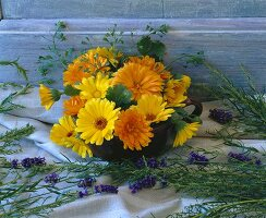 Marigolds, lavender and shepherd's purse
