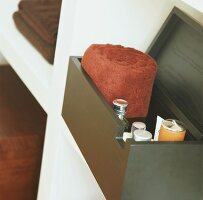 Bathroom accessories in wooden box